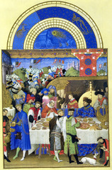 Artist: Limbourg Brothers Title: January, from Les Tres Riches Hearts du Duc de Berry Time: 1410
