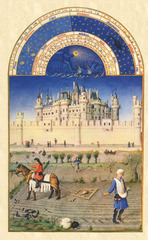 Artist: Limbourg Brothers Title: October, from Les Tres Riches Hearts du Duc de Berry Time: 1410