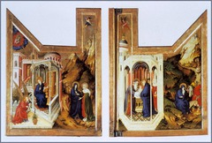 Artist: Melchior Broederlam Title: Annunciation, Visitation, Presentation in the Temple, and Flight Into Egypt Place: Dijon, France Time: 1300