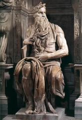 Artist: Michelangelo Style: Renaissance Medium: Marble Museum/City: San Pietro in Vincoli, Rome Connection: Inspired by Classical Greek idealization 1. It was commissioned for a tomb piece 2. Both Vasari and Freud wrote about it 3. The depiction of horns was uncommon for Moses, stemming from a Latin translation of the Exodus