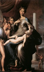 Artist: Parmigianino Style: Mannerist Medium: Oil on wood Museum/City: Uffizi, Florence Connection: Emotion in Michelangelo's Pieta 1. The baby christ is sometimes thought to be dead, due to his pale color and limp form 2. The madonna displays unusual proportions, having an abnormally long neck and fingers 3. The purpose of the small prophetic figure in the corner is unknown, other than for religious symbolism