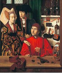 Artist: Petrus Christus Title: A Goldsmith in His Shop Time: 1450