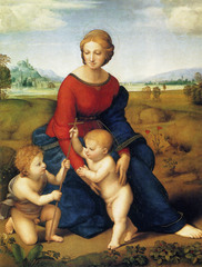 Artist: Raphael Style: Renaissance Medium: Oil on panel Museum/City: Kunst Historic Museum, Vienna Connection: Inspired by Da Vinci's geometric composition 1. Features John the Baptist and Jesus 2. The red on the madonna's robe symbolizes christ's death and the blue symbolizes the church 3. Raphael mainly painted madonnas like these while in Florence, which he has come to be most known for
