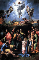 Artist: Raphael Style: Renaissance Medium: Tempera panel Museum/City: Vatican Museum, Rome  Connection: Inspired by Old Testament ideas and events 1. It was Raphael's last painting 2. It was unfinished by the time Raphael died 3. It was meant to be an altarpiece