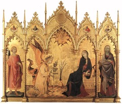 Artist: Simone Martini Title: Annunciation Time: 1330