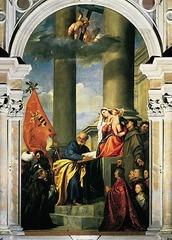 Artist: Titian  Title: Madonna of the Pesaro Family Place: Santa Maria dei Frari, Venice, Italy Time: 1510