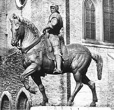 Bartolomeo Colleoni by Verrocchio, 15th Cen. Italian Renaissance  - Commissioned by Colleoni after death - equestrian statue on high pedastle - self-awareness, looking for enemies, very animated - horse prancing style, curved neck - anger in face, twist/shift of horse, prescence
