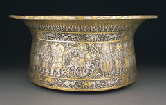 Basin (Baptistère de Saint Louis) Muhammad ibn al-Zain. c. 1320-1340 C.E. Brass inlaid with gold and silver The Mamluks, the majority of whom were ethnic Turks, were a group of warrior slaves who took control of several Muslim states and established a dynasty that ruled Egypt and Syria from 1250 until the Ottoman conquest in 1517. The political and military dominance of the Mamluks was accompanied by a flourishing artistic culture renowned across the medieval world for its glass, textiles, and metalwork.