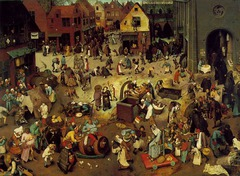 Battle between Carnival and Lent Artist: Pieter Bruegel Themes -Religion: Protestant=carnival and Catholicism=lent  -Carnival vs. Lent: indulgence vs. denying themselves -Theatrical: people in costumes and playing certain roles -Urbanism: people congregate in town center