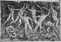 Battle of the Ten Nudes by Pollaiuolo, 15th Cen. Italian Ren  - 10 nudes fighting each other - humans in violent actions  - carved print  - foreshortening - stiff/frozen figures - muscle groups at maximum tension