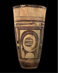Beaker with ibex motifs Susan, Iran. 4200-3500 B.C.E. Painted terra cotta. One of the first ceramic pieces, made from clay and intricately designed with mineral and plant paint in painstaking detail. The vessel portrays a Ibex, a type of goat native to the area, and also canine figures along the rim. At the time, dogs were used to hunt animals like Ibexes. The painting might have been done with small brushes made from plant material or human or animal hair