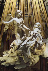 Bernini. Italian. Ecstasy of St. Theresa, 1645—52. (Cornaro Chapel, Santa Maria della Vittorio) Baroque. -her robe reacts to her ecstatic vision, no part of St Theresa is visible, face has beautiful expresison -the tobe carries the energy of the vision -vibrates with force -St Theresa's face throws her face back, sexual transport -religious experience, ecstacy of saints because they are emotional reactions, bi part of baroque art -naturalistic expression, all relate and can relate to