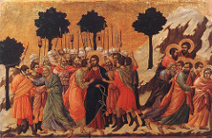Betrayal of Christ by Duccio, Proto-Renaissance - Betrayal of Jesus by judea's false kiss, st peter chopping ear of hight priest servants, disciples fleeing - elongation, shadow, modeling, drapery as very convincingly depicted - 3-dimensional form, shades of color - motion of figures w/planting of feet, so sway is in body  - little recession into space, background by everything pushed forward - emotion in faces, huumanization of religious subject matter