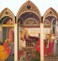Birth of the Virgin by Pietro Lorenzetti, Proto-Renaissance - pictorial realism, spacial recession - altarpiece in Siena - tempura on wood  - virgin as queen of the republic, part of 3-panel piece yet only 2 scenes - scene from life of virgin w/parents, delivering Mary w/mother and midwives - weariness, emotional side - boxlike stage setting, yet more of a home - italian palatzo - palace depiction, altarpiece of 3 sections  - opened up, very architectural, recession into space - propagandistic with recurring crusades, oriental rug underneath people - take over world