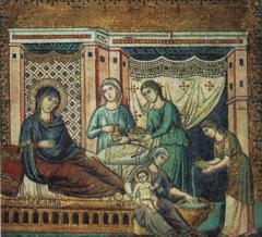 Birth of the Virgin, Pietro Cavallini, late 1290s, Transept wall of S.M. Maggiore in Trastevere, Rome, mosaic