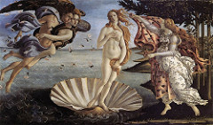 Birth of Venus by Bottecelli, 15th Cen. Italian Ren  - sense of beauty of soul - mmysticism and spirituality  - at birth, perfection is corrupted, must be regained through god's love - neoplatonist ideal beauty  - based on poem - zephers represent winds blowing venus to shore to island cyprus  - figre of pomona - lightness/bodilessness, sense of energy - undulating clothing  - perfume of rose petals falling with wind  - man better chance understanding divinity as seen as this form  - illusion to the virgin  - full figured classical nude