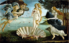 Botticelli, Birth of Venus, 1483, tempura on panel  Idea:  If we can contemplate physical beauty (elegance of Venus's pose, the waves flowers and the birds) than we can understand divine beauty (Venus)  breaking convention (only acceptable nude was Eve)  sensual  flexibile, skelatel  zephyrs on left  we can see the wind behind the zephyrs to show Venus's interaction with the natural elements