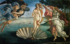 Botticelli, Italian. Birth of Venus, c. 1480. Early Renaissance -comissioned by the Medici family, it is Boticelli's recreation of lyrical painting of a poet's retelling go the Greek myth, Zephyrusm carrying Chloris, blows Venus, born out of sea foam on a cockle shell, to her sacred island, Cyprus. -the lightness and bodilessness of the winds propel all the figure without effort -draperies undulate and move easily in the gusts, Boticelli depicts Venus as ndude, very rare win Medieval art, obviously a change, the artist uses ancient Venus statues to help draw figure -he seems to ignore the new rules of linear perspective the background appears flat devoid of atmospheric perspective -his paintings possess rhythm and lyricism that appealed to Florentine patrons