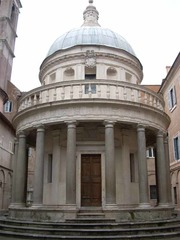 Bramante, Tempietto, 1502, Rome  -pagan architecture and Christian theme, which was common in the Renaissance  -no inscriptions  -peristyle columns  -hemispherical dome  matryrium to commemorate St. Peter
