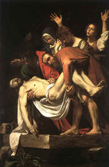 Caravaggio. Italian. Entombment of Christ, 1603. Baroque. -in 1600 there was a conscious changing of the style from Mannerism, reformers came at the beginning of the 17th century -Carvaggio (most important reformer) came to Rome in 1600, begins to paint in a much more naturalistic fashion -his deposition, lower of Christ into the tomb -figures are more naturally proportioned, colors are more naturalistic, red and yellow white and brown colors you see in nature -emotions are represnted in a way we can relate to, human emotions (specifically Greek) -Carvaggio has a preference of strong ontrsts of light and dark (very deep shadows) -most paintings in earlier periods, evenly lit so the light is even over the entire painting -generally in Baroque there is strong light and dark contrasts, can wee parts of the pictures fading into thdistance -shadow carves the figure Chiarosturo (light dark) -picture is organized on basis of strong contrasts -space comes forward in Baroque period, as well as backwards, space begins to be an aspect of the picture that unites the viewer with the composition Stone beneath the figures come out into your face Can tell whih direction the light is coming form, fairly high, falls in the figure below Stone Is projecting into your space in an illusionistic fashion Open composition, comes out towards you, envelops the viewer Naturalistic colors, natural proportions to figures, openign of compisiton, compositions based on diagonal ressession as opposed to linear perspective (no perspective in mannerism) Diagonal line across picture plane towards picture, Mary Magdaline in the background