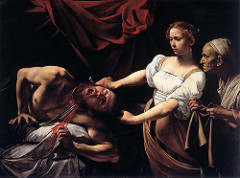 Caravaggio Judith slaying Holofernes Period: Baroque depiction of biblical slaying story of female heroine