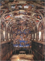 Ceiling fresco's from the Sistine Chapel Michelangelo Rome, Italy