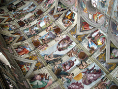 Ceiling of Sistine Chapel by Michelangelo, High Ren - very long, wide  - inexperience w/fresco technique - height above pavement : 70 ft - curved vaults difficult :( - less than 4 years, 400 figures +  - redemption, fall, creation of humanity  - corridor of narrative panels describing creation, hebrew prophets, pagan sybils on curved sides  - 4 corner pendentives = 4 old testament scenes, david, judith, etc  - triangular compartments - ancestors of christ  - nudes separate panels, sitting on pedastles, pairs of putii in grisalle tech  - figures strongly outlined against neutral tone of architecture  - painted to be sculptures, beauty of body and natural form, psyche  - lots of bright colors  - women are pronounced, mannish