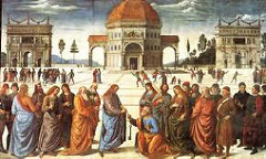 Christ Delivering the Keys of the Kingdom to St Peter by Perugino, 15th Cen. Italian Ren - calm geometric order of pictorial space - lower part of sistine chapel  - papacy uses this as basis of claim over church  - stage-like space that opens into backround  - 1 point perspective aligns w/central basilica - open background - more emphasis - orthogonals - figures complement forground people, solidty, ordered - 2 triumphal archs in background, compositional triangle space - modeled cathedral after constantine's - interlock of 2 and 3D space - placement of central figures emphasizes axes, 3D illuminated  - conversational, placing of body not dire