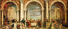 Christ in the House of Levi by Veronese, Venetian  - gigantic scale 18x42'  - majesty of classical architecture - arches w/columns, divided by huge columns - italian loggia, outdoor porch/pato area - chief steward - act of 'welcome' - impiety? creatures like commoners, different races, so close to the Lord, dwarves, dogs, etc. =_= - basically last supper  - symmetry, balance, every color on color palatte