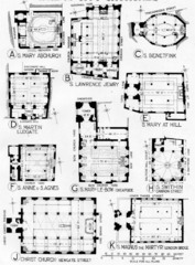 City Churches, plans, 1670-1686, C. Wren, London, England. - Wren supervised the building of 52 new churches - Regular geometric designs