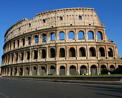 Colosseum (Flavin Amphitheater) Rome, Italy. Imperial Roman. 70-80 C.E. Stone and concrete The Colosseum is famous for it's human characteristics. It was built by the Romans in about the first century. It is made of tens of thousands of tons of a kind of marble called travertine.