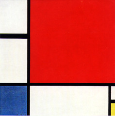 Composition with Red, Blue and Yellow Piet Mondrain. 1930 C.E. Oil on canvas Represents a mature stage of Mondrian's abstraction. It seems to be a flat work, but there are differences in the texture of different elements. While the black stripes are the flattest of the paintings, in the areas with color are clear the brushstrokes, all in the same direction. The white spaces are, on the contrary, painted in layers, using brushstrokes that are put in different directions. And all of these produce a depth that, to the naked eye, cannot be appreciated.