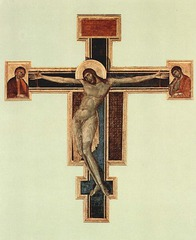 Crucifix, Cimabue, 1280s, S. Croce, Florence, tempera on panel (before damage)