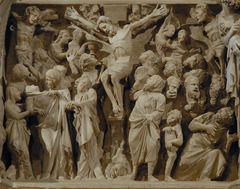 Cruxifixion, Giovanni Pisano, 1297-1301, panel from pulpit of Sant'Andrea, Pistoia, marble