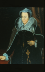 dark colors. Waist is pointed. Mary Queen of Scots Headdress. split ruff, square neckline, whisk