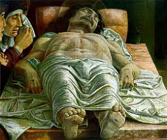 Dead Christ by Mantegna, 15th Cen. Italian Ren  - feet smaller - tempering naturalism, more artistic, looks perportional - line engraving style - hyperrealism - unmerciful view of the dead  - people must atone for stuff like this  Camera Degli Sposi by Mantegna, Italian Ren  - fresco over entire room, gonzaga famility to bring gradeur, celebrations of courtly lifestlye - high grandiose  - garlnds and medallions over everything, triumph of classical era