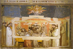 Death of St. Francis by Giotto, Proto-Renaissance - Lamentation, grieving over St Francis - longer, taller figues  - profiles, hand gestures, groupings of people, etc still very same as 'Lamentation' - solemnity, less dramatic emotion