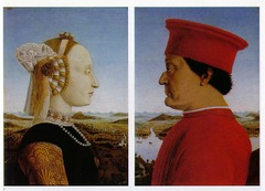 Della Francesca  known for humanism, use of geometric form, perspective interested in N. Renaissance art, often borrows ideas, landscape, sense of imagination, composition (geometry of painting)/ organization commissioned by Duke Federico da Montefeltro (1467-72) painting features Duke's late wife, Duchess Battista Sforza shortly after her death in order to commemorate her High forehead, plucked, is borrowed from the Northern artists and ideals, as well as the detailed landscape looking at landscape from above, towering over, powerful and authoritative  Profile based off coin of ancient Rome Usually profiles are done facing the right, like the wife is, Duke is facing left (towards his wife, looking at her) either to show affection and personal connection or because the Duke had suffered injury on the other side of his face which caused him to lose an eye and part of his nose Diptych joined by a hinge. When closed painting of two chariots becomes visible. The chariot on the left with the white horses has the Duke and a personification of Justice (holding scales) and on the right chariot with the brown unicorns is the Duchess and her virtues- used imagination to create sense of nobility and iconography Sense of harmony, symmetry, geometry, idea of perspective, classic portraits all = classic Renaissance