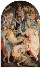 Descent from the Cross by Pontormo, Mannerism - vertically aligned around Christ - Mary falls back, hand drops Christ's hand - view in center, central mass however this leaves dead/open center 'void', accentuated w/ hands into open space  - ambiguity w/ curiously axious glances, no focus  - little weeping, pleading instead  - athletic bending/twisting of figures, elongated figures - heavy eyelids add to expression - contrasting colors = dynamic colors, cacophonius  - no depth, crowded and compressed - random cloud, bad filling of space