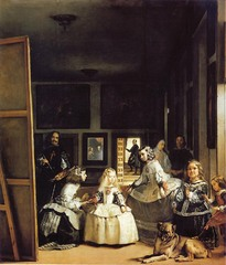 Diego Velazquez, Spanish. The Maids of Honor (Los Meninas), 1656. Baroque. -most famous picutre -The Maids of Honor, gathering around the little princess, -dog, other members of the royal court -in the room where Diego is actually doing the painter -painter standing in the background -room is very deep, can see someone entering from open door, Hanging on abckdoor, can see paintings of classical subjects having to do with art -the mirror is reflecting the preence of the king and queen -painting the king and the queen and daughter has come to visit and enetertain a they pose for Velasquez -King and Queen are standing where you are -OPEN COMPOSITION breaks space of viewer and space of the picture, invites you in, unlike high renaissance -Baroque art is a very painterly style, allow the burshstrokes to show, interested in the pint, want you to understand this Do not [aint glassy smooth surfaces in renaissance or mannerist -create texture, but when close, can see storke of paint