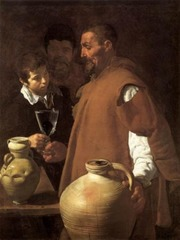 Diego Velazquez, Spanish. The Water Carrier of Seville, 1619. Baroque. -unusual scenes, everyday life scenes, giotto scenes -he is shown with a large waterjug on the surface of which you can see all of the lines on the jug caused by the wheel -handing a glass of water to the little boy, in that glass of water there is a fig to refresh it -light comes in diagonally, very interesting figure who like the jug is treated for his shape and formm -as if the artist is trying to compare the two, a utilitarian useful and powerful figure like this massice jug of water -very naturalistic, a representation of an everyday life scene (genre picture) -