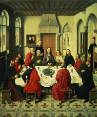 Dirk Bouts Last Supper, center panel of the Altarpiece of the Holy Sacrament Louvain, Belgium 1464-1468 Oil on wood - One of the earliest Northern European paintings to employ single-vanishing-point perspective, this last supper includes four servants in Flemish attire, probably portraits of the altarpieces patrons