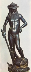 Donatello David Bronze Period: Renaissance David-symbol of independent florence first free standing nude since antiquity feminine and youthful pose