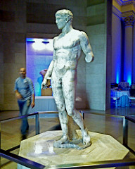 Doryphoros Polykleitos. Original 450-440 B.C.E. Roman copy (marble) of Greek original (bronze) Doryphoros was one of the most famous statues in the ancient world and many known Roman copies exist. The original was created in around 450 BC in bronze and was presumably even more tremendous than the known copies that have been unearthed. Doryphoros is also an early example of contrapposto position, a postion which Polykleitos constructed masterfully (Moon).
