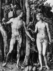 Durer, Adam and Eve, 1504, Engraving, Germany  -engraving of Adam and Eve with nude bodies in frontal form (GRECO_ROMAN) but heads are in profile gazing at each other  very dramatic use of the space (he was prolific) no empty spaces  the animal symbolism the elk ox bird and rabbit represent the 4 humors of human personality  eve reaching for the apple to represent sin  his work is very humanist, captures all different aspects of human life facial proportions are ideal rather than real, the distance from her forehead to chin is less proportional, more beautiful