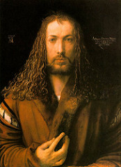 Durer, Munich, painting, Self Portrait, 1500 This portrait shows the artist fully frontal, which was a pose that was generally reserved for Christ  Dürer studied art in Italy and brought his knowledge back to his home country of Germany  equating his skills with Christ as Christ gave him his talents
