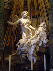 Ecstasy of Saint Teresa Cornaro Chapel, Church of Santa Maria della Vittoria Rome, Italy. Gian Lorenzo Bernini. c. 1647-1652 C.E. Marble (sculpture); stucco and gilt bronze (chapel) Bernini used the erotic character of the experience as a springboard to a new and higher type of spiritual awakening. It is one of the most important examples of the Counter-Reformation style of Baroque sculpture, designed to convey spiritual aspects of the Catholic faith.