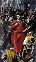 El Greco - show hallmarks of El Grecos Mannerist style. Exaggerated elongated figures. Highly emotional. Pale un-natural skin tones. Icy colors.
