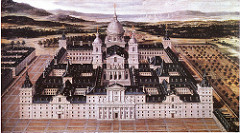 Escorial (Aerial View) by Herrera, 16th Cen N Ren - Rugged terrain surrounding mausoleum, church, monastary, palace. Gridlike plan for huge complex, way huge - Grid plan - grid iron of St Laurence who was martyred, patron sain of escorial - Philip II's character - austere, cautious, passionate catholic, pride in dynasties, wanting to impose will on the world  - insisted on simplistic design, severe, noble w/out arrogance, majestic w/out ostentation  - result: doric order severity from classicism, grandeur of st peter's - 3 entrances w/dominant central portal - pediment, italian fasion, portico breaks severity of horizontal - 4 massive square towers, punctuate corners, stress on central axis, later ties into baroque facade - 2 portals, rises up, draws up focus side areas complex - made of granite, hard to work with - lol philip - starkness and gravity - massive and austere, blocky walls, rounded arches, overwhelming strength and weight - collaboration of great kind, architect