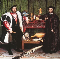 Figure 23-11 HANS HOLBEIN THE YOUNGER, The French Ambassadors, 1533. Oil and tempera on wood, approx. 6' 8